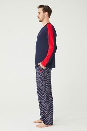 US Polo Assn Erkek Lacivert Patlı Pijama Takım 1