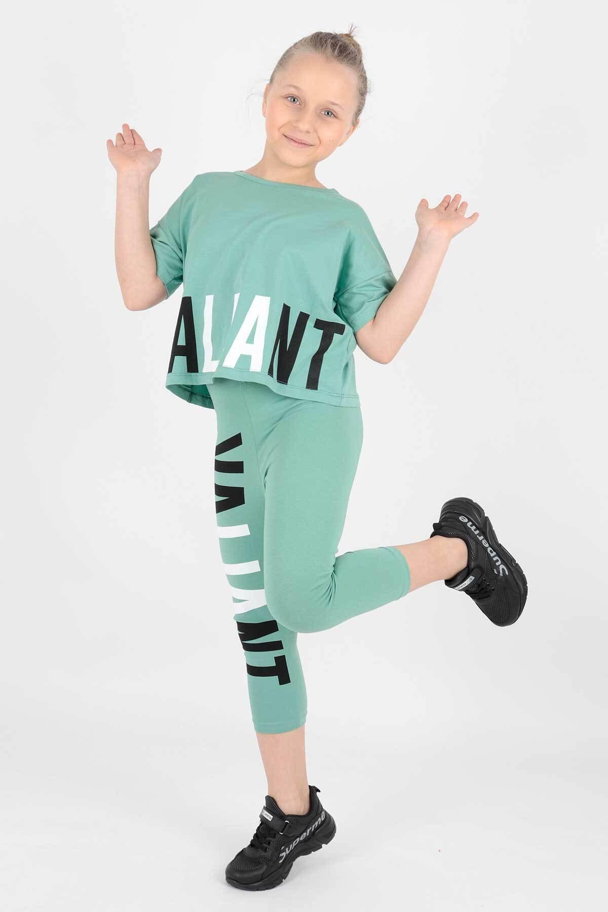 Kız Çocuk Yeşil Vaillant Baskılı Taytlı Takım Ak14206
