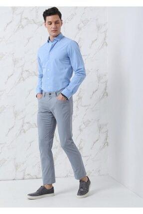Ramsey Erkek Mavi Dokuma Uzun Kollu Gömlek 3