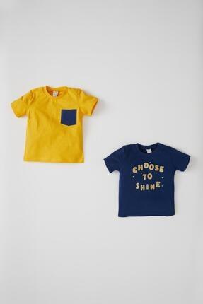 Defacto Erkek Bebek Baskılı 2'li Kısa Kol Pamuklu Tişört 1
