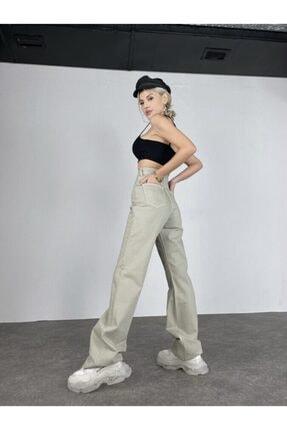 HOLLY LOLLY Kadın Haki Slim Flare Yüksek Bel Partey Jean 2