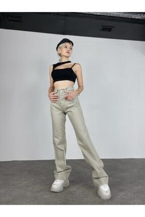 HOLLY LOLLY Kadın Haki Slim Flare Yüksek Bel Partey Jean 4