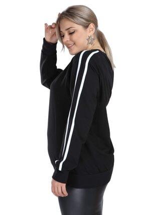 Picture of Büyük Beden Siyah Spor Giyim Kolları Şeritli Sweat Üst 2534