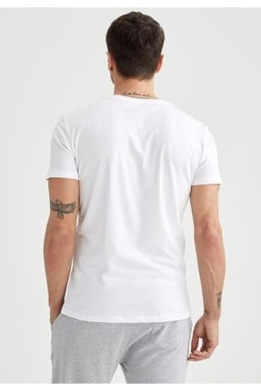 Defacto Erkek Beyaz Slim Fit V Yaka Basic Premium Kalite Tişört 3
