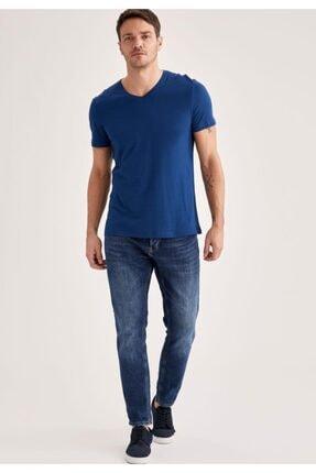 Defacto Erkek Navy Slim Fit T-Shirt M6607AZ21SP 1