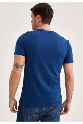 Defacto Erkek Navy Slim Fit T-Shirt M6607AZ21SP 3