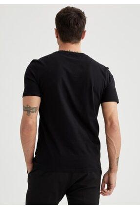 Defacto Regular Fit Bisiklet Yaka Basic Kısa Kollu Siyah Tişört 3