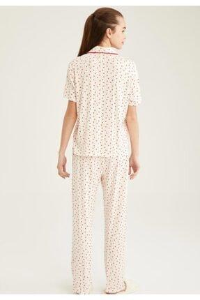 Defacto Kadın Ekru Kalp Desenli Gömlek Yaka Pijama Takımı 3