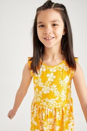 Defacto Kız Çocuk Sarı Çiçek Desenli Kolsuz Elbise 1