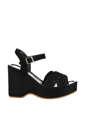 Soho Exclusive Siyah Süet Kadın Dolgu Topuklu Ayakkabı 15938 3