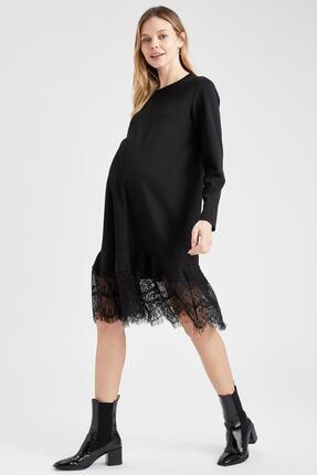 Defacto Kadın  Black Red Hamile Dantel Detaylı Elbise T6039AZ20WN 4