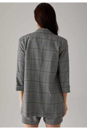 Defacto Kareli Oversize Fit Yarım Kollu Blazer Ceket 3
