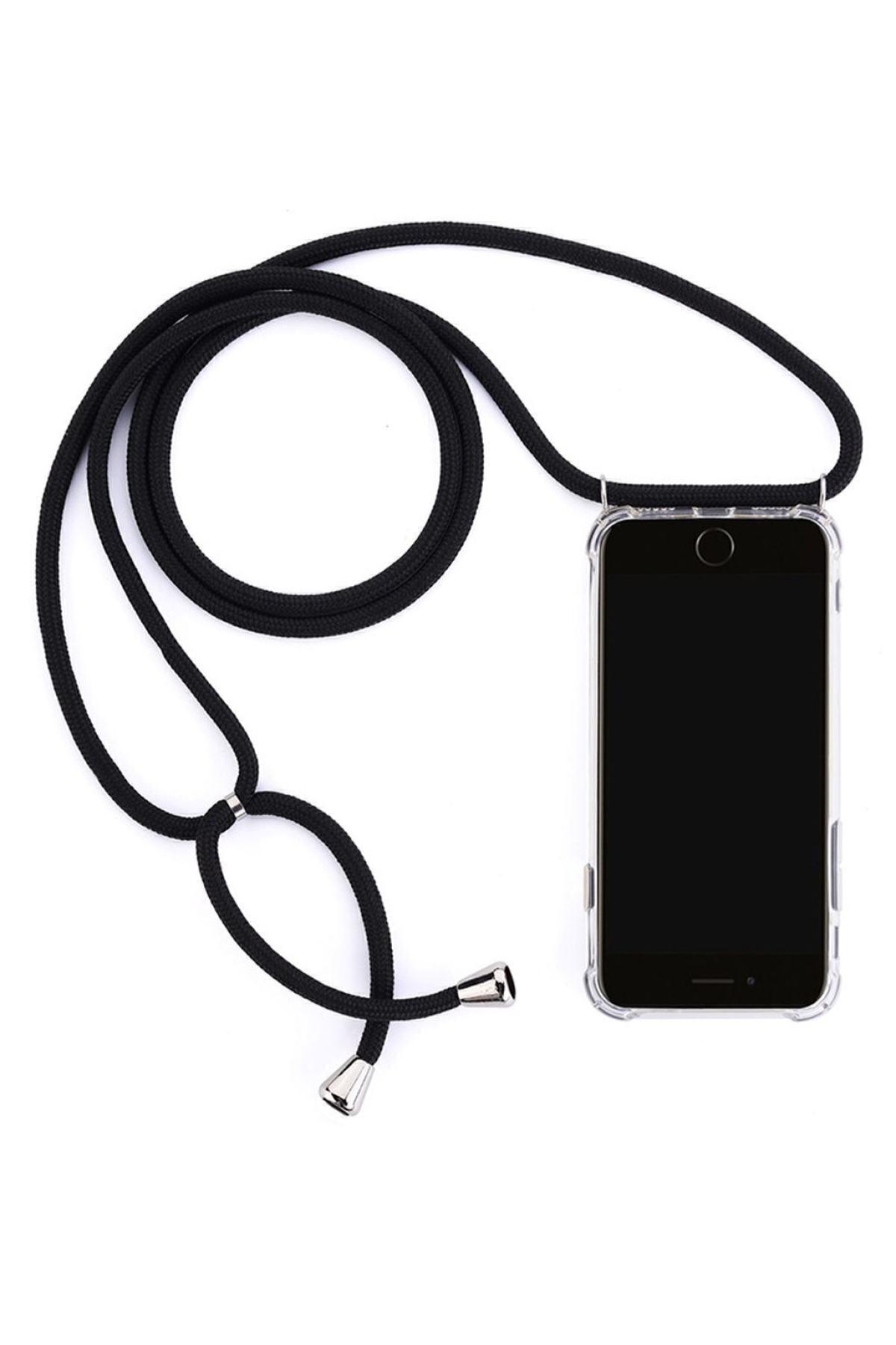 mtncover Şeffaf Iphone 11 Uyumlu İpli Boyun Askılı Siyah Telefon Kılıfı