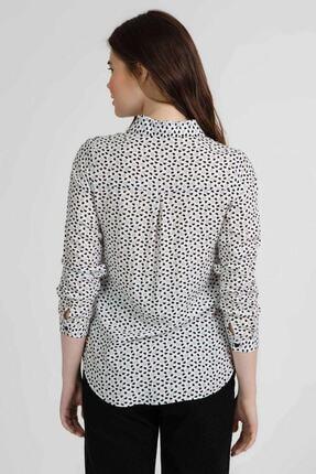 Pattaya Kadın Kalp Baskılı Uzun Kollu Viskon Gömlek Ptty20s-118 3