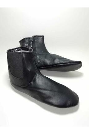 Gezer Unisex Siyah Astarlı Koyun Derisi Mest Çorap Koyun Derisi Lastikli Miflonlu Mest Astarlı Koyun 1