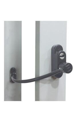 EYM Penkid Çelik Halatlı Pvc Pencere Emniyet Çocuk Güvenlik Kilidi Antrasit 0