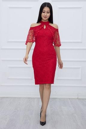 PULLIMM Kadın Kırmızı Dantel Kısa Elbise 13327 2