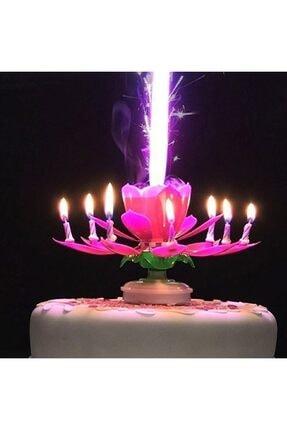 Huzur Party Store Pembe Renk Happy Birthday Melodili Müzikli Sihirli Kendinden Açılan Doğum Günü Pasta Parti Mumu 0