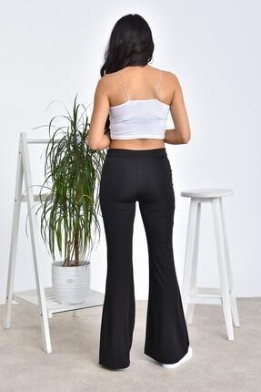 Md1 Collection Kadın Siyah Dalgıç Kumaş Bir Beden Inceltici Görünüm Sağlayan Ispanyol Paça Pantolon 1