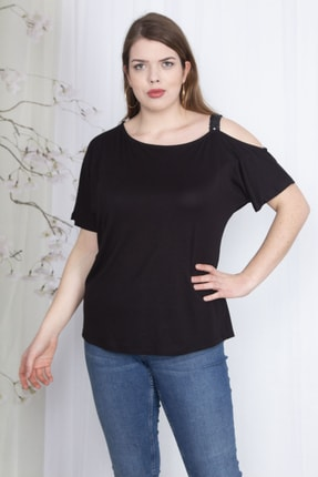 Şans Kadın Siyah Payet Askılı Bluz 65N23562 2