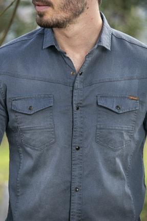 BAYEFENDİ Erkek Gri Slim Fit Cepli Likralı Kot Gömlek 3