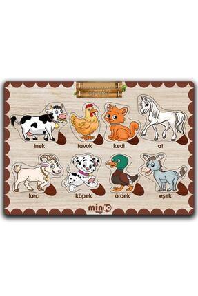 minİQ toys Ahşap Türkçe Orman ve Çiftlik Hayvanları 2'li Set Eğitici-öğretici Yapboz 1