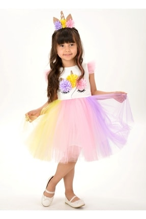 Buse&Eylül Bebe Kız Çocuk Beyaz Unicorn Figürlü Taçlı Elbise 0