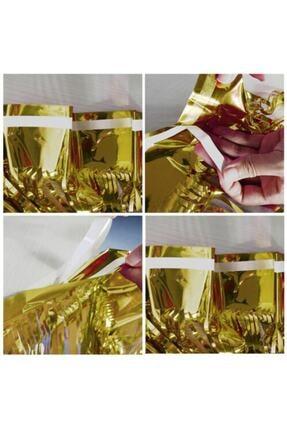 Kelebek Oyuncak Metalik Folyo Gold (altın Sarısı) Püskül Masa Eteği 75x400 Cm 4