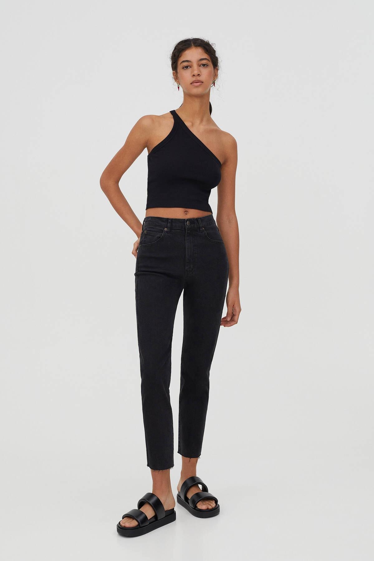 Pull & Bear Kadın Siyah Comfort Slim Fit Mom Jean 0