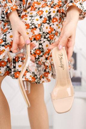 meyra'nın ayakkabıları Kadın Ten Şeffaf Bant Ve Şampanya Topuklu Ayakkabı 2